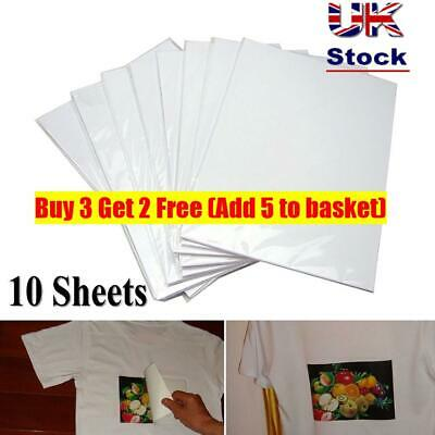 10x A4 T Shirt Transfer Paper Iron On Light Fabrics Heat Press Inkjet Print~ • 3.46£