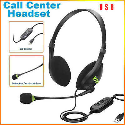 USB Noise Cancelling Headset Headphones With Microphone PC Laptop Call Office  • 7.79£