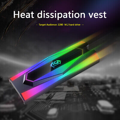 Great Wall M.2 2280 SSD Heatsink Cooler Aluminum RGB Heat Dissipation Pad • 7.73£