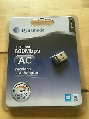 Dynamode Dual-Band 600Mbps AC Wireless USB Adapter Dongle New • 6.50£