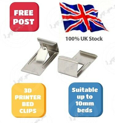 Ultra Low Profile 3D Printer Glass Bed Clips X4 Ender 3 4-5 & Pro CR-10, 10S, S5 • 2.98£