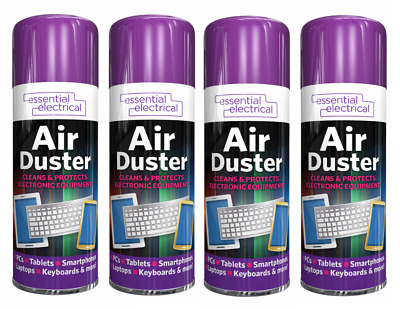4x Compressed Air Duster Spray Can Cleans & Protects Laptops Keyboards[Pack Of 4 • 9.98£