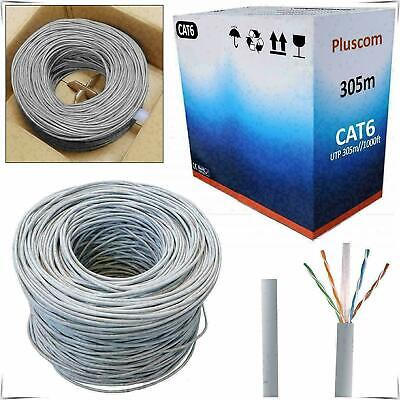 305M CAT6 RJ45 OUTDOOR Network Ethernet LAN Cable 4 Pair UTP ADSL Roll Reel Box • 36.85£