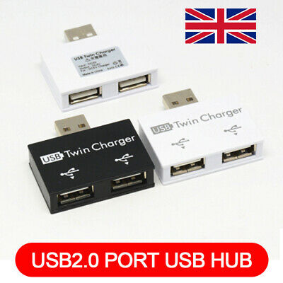 USB2.0 Male To Twin Charger Dual 2 Port USB Splitter Hub Adapter Converter • 4.31£