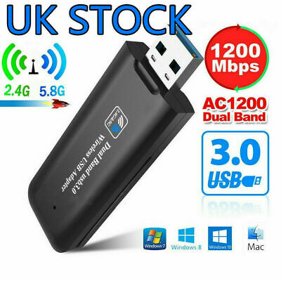 1200mbps Wifi Dongle USB 3.0 Adapter Dual Band 5GHz/2.4G 802.11ac For PC Macbook • 8.45£