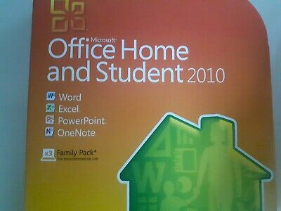 Microsoft Office 2010 Home & Student *3 USER* DVD Word Excel Etc (Window 7/8/10) • 50£