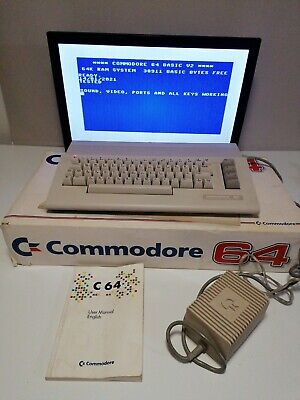 Commodore 64 C64 Computer, PSU And Manual* TESTED, BOXED* • 39.69£