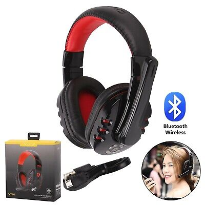 Wireless Bluetooth Gaming Headset Headphones Stereo W/ Mic For PC Laptop Black • 16.19£