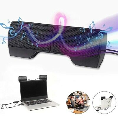 USB Clip-On Computer Sound Bar Stereo Laptop Desktop PC Notebook Speakers Hot • 9.99£