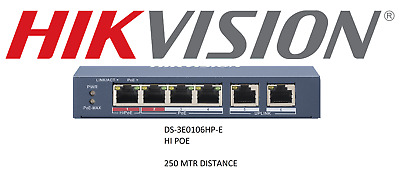 Hikvision DS-3E0106HP-E Network POE Switch 10/100 IP Cameras 250 Mtr Distance • 64.99£
