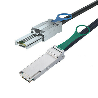 QSFP SFF-8436 To Mini SAS SFF-8088 SAS Cable For NetApp DS4243 DS4246 0.5m/1.6FT • 31£
