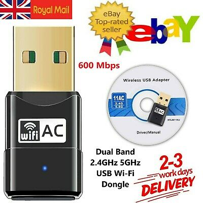 WiFi Dongle Wireless USB Dual Band Adapter 600 Mbps 802.11 AC 2.4-5ghz Laptop PC • 6.03£