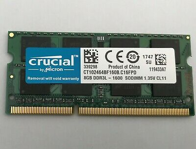 Crucial 8GB 2Rx8 PC3L-12800S DDR3L-1600Mhz SODIMM Laptop Memory RAM 1.35V 204Pin • 35.99£