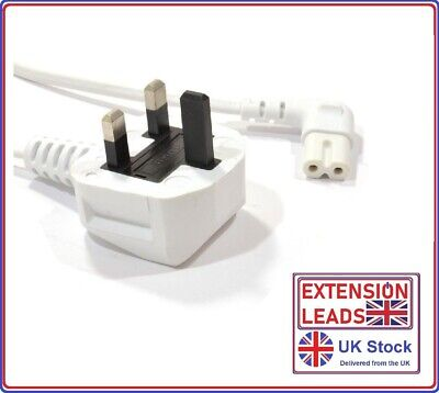 LG LED 4k UHD Flat Screen TV Mains Angled Power Lead Cable Long White  • 6.99£