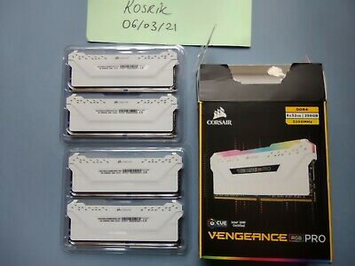 128GB (32GB X4) Corsair Vengeance White RGB LED Pro DDR4 3200MHz Quad • 550£