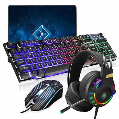 LED Gamer Wired USB Gaming Keyboard And Mouse Set For PC Laptop PS4 Xbox One NEW • 14.95£