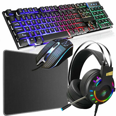 Rainbow LED USB Gaming Keyboard And Mouse Headset Set For PC Laptop PS4 Xbox One • 29.95£