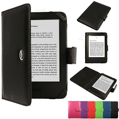 For Amazon Kindle 6  Touchscreen Slim Leather Protective Flip Case Cover • 6.95£