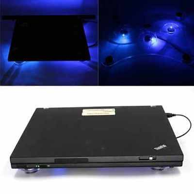 3 Fan USB Laptop Fan Cooler Stand Cooling Pad Tray Blue LED Light 10-15  • 9.95£