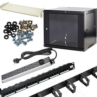 Wall Mounted Data Cabinet Install Bundle Cage Nuts,PDU,Shelves,Cable Management • 159.99£