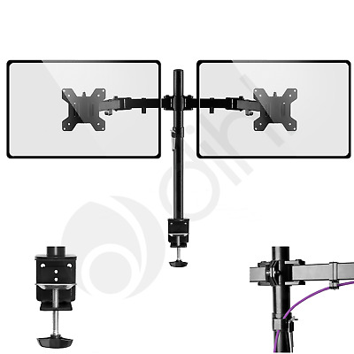 "Double Twin Arm Desk Mount Bracket LCD Computer Monitor Stand 13""-27"" Screen TV • 16.99£"