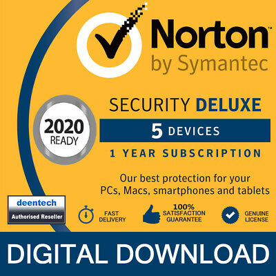 Norton Security Deluxe 2020 (5 Devices/1 Year) Internet Antivirus PC/Mac Licence • 18.95£