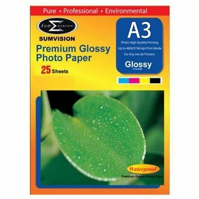 Sumvision A3 Premium Inkjet Printer Photo Glossy Paper 200gsm 25 Sheets Pack • 6.95£