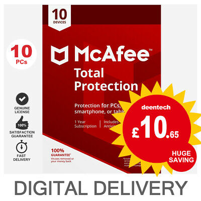 McAfee Total Protection 2020 (10 Device/1Year) Antivirus & Internet Security • 10.65£