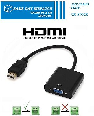HDMI INPUT To VGA OUTPUT - HDMI To VGA Converter Adapter For PC DVD TV Monitor • 5.99£