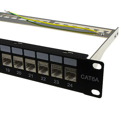 24 Port RJ45 CAT6A SHIELDED Through Coupler Patch Panel With Back Bar • 56.71£