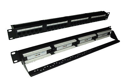 Cat6 UTP RJ45 24 Port Patch Panel With Rear Cable Manangement Support Bar • 18£