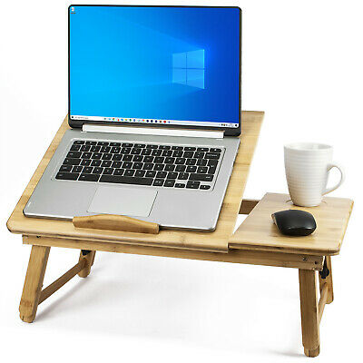 Bamboo LAPTOP TABLE Adjustable Stand Folding Wooden Breakfast In Bed Tray Desk • 24.97£