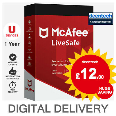 McAfee LiveSafe 2020 (Unlimited Devices/1Year) Genuine Authentic License Windows • 12£