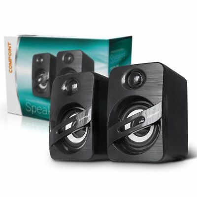 Compoint Compact Stereo Speakers USB Powered 3.5mm Jack For PC Laptop Tablet NEW • 9.50£