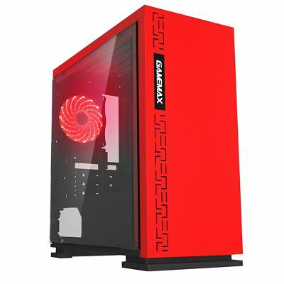 Game Max Expedition Red Gaming Matx PC Case Rear LED Fan Clear Glass Side Window • 36.70£