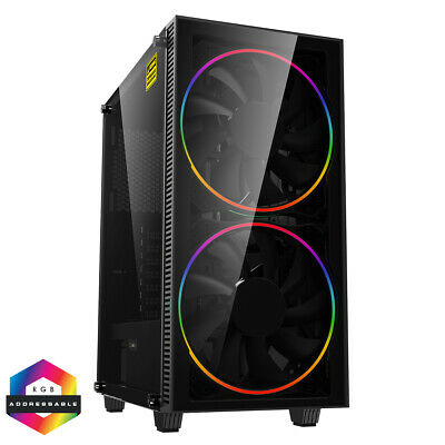 Game Max Black Hole Midi ATX Gaming PC Case 2x 20CM RGB LED Fan Tempered Glass • 59.99£