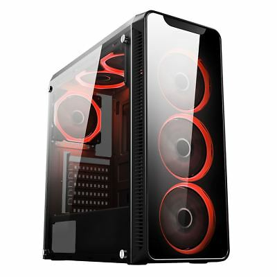 Cit Blaze Gaming Mid ATX PC Case 6x 12CM Red LED Ring Fan Tempered Glass Panels • 51.95£