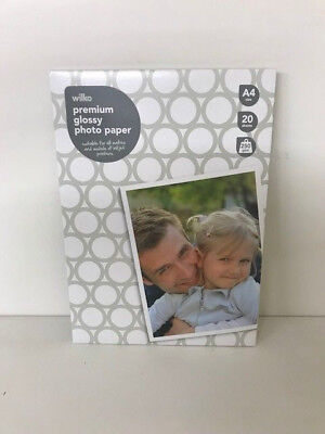 Photo Paper A4 Glossy Inkjet Premium High Quality 250gsm 20 Sheets Wilko Branded • 3.79£