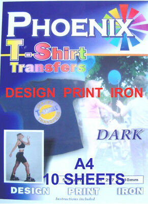 IRON ON T TEE Shirt DARK Transfer Paper A4 10 Sheets • 9.50£
