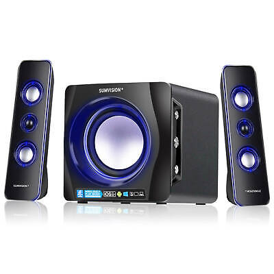 Sumvision N-Cube Pro 2.1 Speaker System Bluetooth Blue LED For PC Laptop Tablet • 39.95£