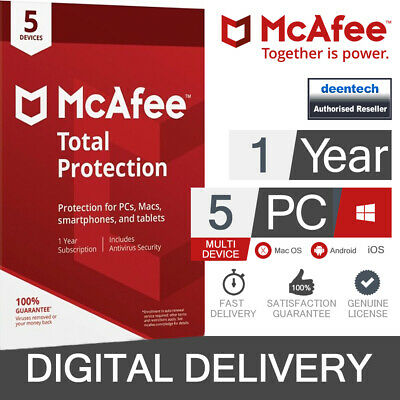 McAfee Total Protection 2020 (5 User) Multi-Device PC/Mac Genuine License Key • 9.45£