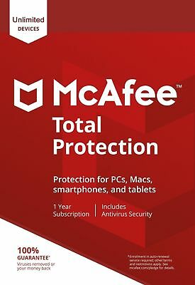 McAfee Total Protection 2020, UN-LIMITED Multi-Devices (LATEST DOWNLOAD VERSION) • 10.89£
