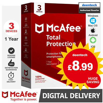 McAfee Total Protection 2020 (3 User) Multi Devices PC/Mac Genuine License Key • 8.99£