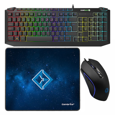 Gaming Keyboard And Mouse Set USB Rainbow 7 Color RGB LED For PC Laptop Xbox PS4 • 24.95£