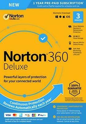 Norton 360 Deluxe 2020 3 Devices 3 PC 1 Year + Secure VPN Internet Security 2019 • 14.95£
