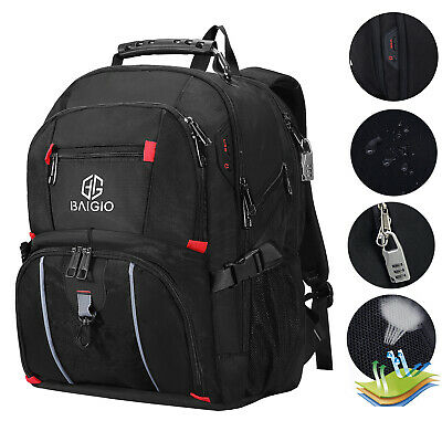 17.3 Inch Laptop Backpack USB Anti-Theft Waterproof Outdoor Travel Shoulder Bag • 18.99£