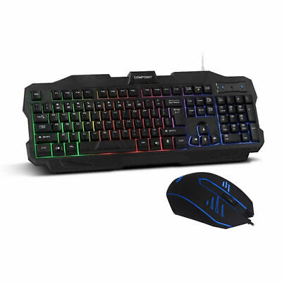 Gaming Keyboard And Mouse USB Wired Chrome Rainbow RGB LED For PC Laptop UK NEW • 14.95£