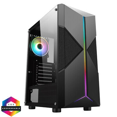 CIT Pyro Mid ATX Tower Gaming PC Case RGB Ring LED Fan 7 Strip Tempered Glass  • 38.45£