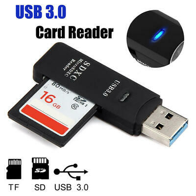 USB 3.0 High Speed 2 In 1 Memory Card Reader Flash Adapter Micro SD SDXC TF UK • 3.59£