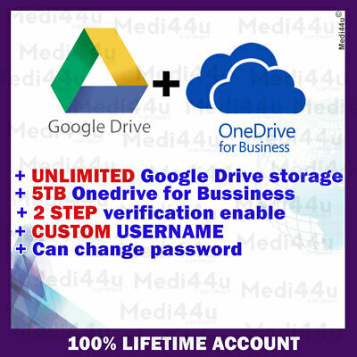 GOOGLE DRIVE UNLIMITED STORAGE + OneDrive For Business 5TB (COMBO) • 10.71£
